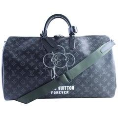 Louis Vuitton Keepall Eclipse 50 Bandouliere 9lr0604 Black Travel Bag