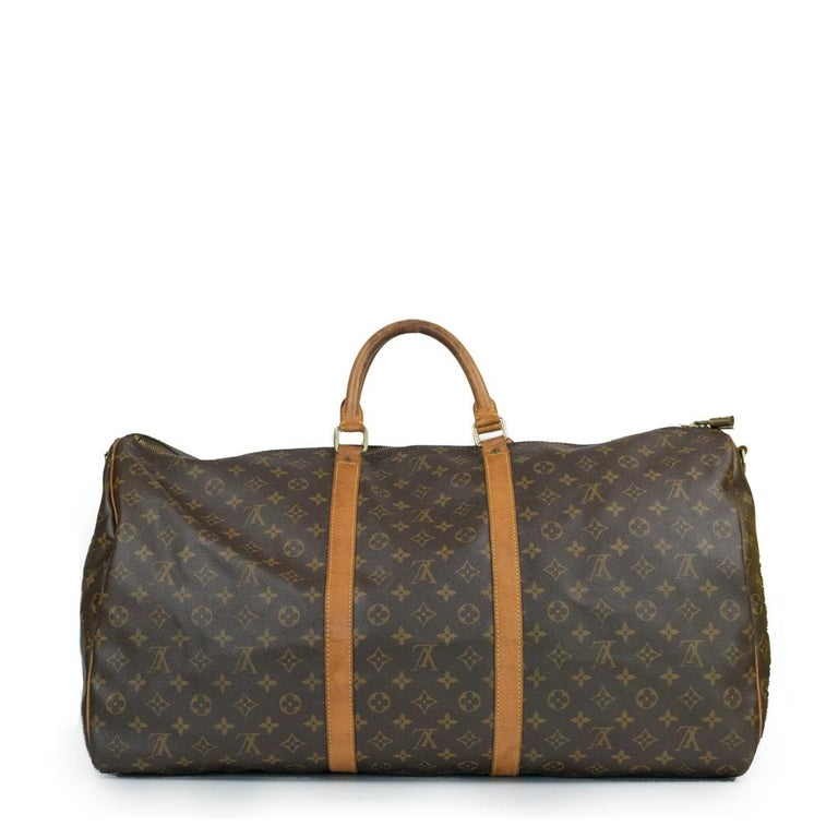 Black Louis Vuitton, Keepall in brown canvas