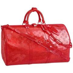 Louis Vuitton Keepall Rgb Clear Ss19 Virgil  50 870439 Red Pvc  Travel Bag