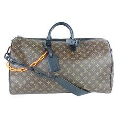 Louis Vuitton Keepall Runway  Ss19 Monogram Chain 50 3lz0114  Travel Bag