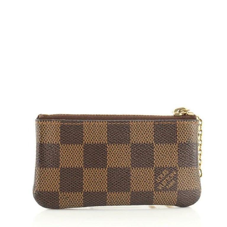 Brown Louis Vuitton Key Pouch Damier For Sale
