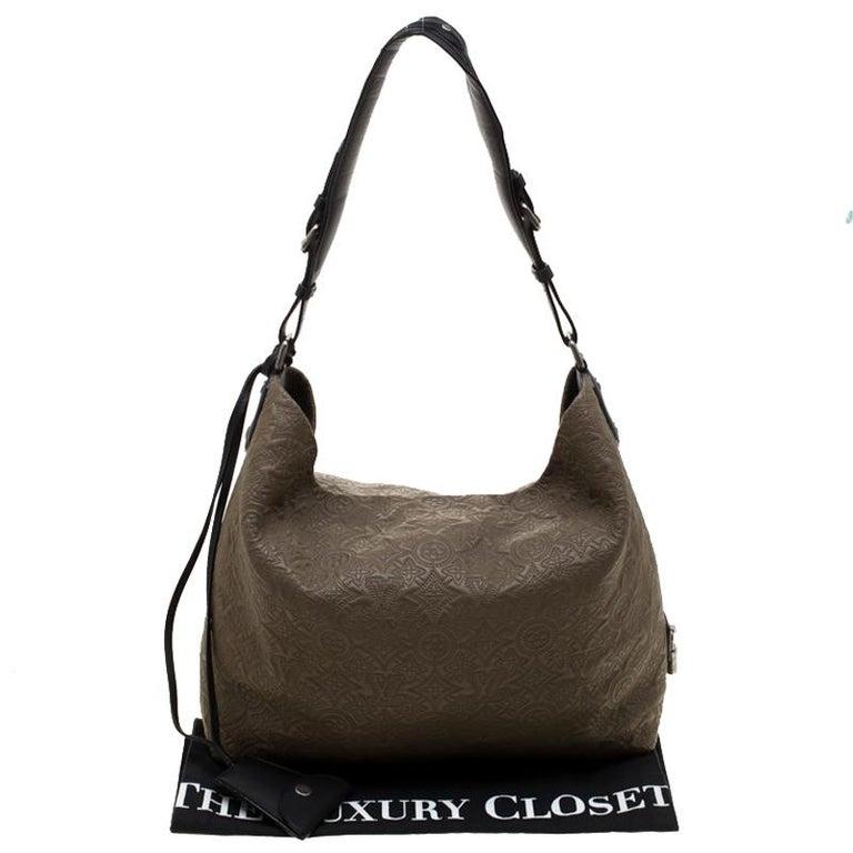 Louis Vuitton Khaki Monogram Antheia Leather Hobo PM Bag For Sale 6