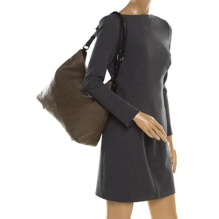 Black Louis Vuitton Khaki Monogram Antheia Leather Hobo PM Bag For Sale
