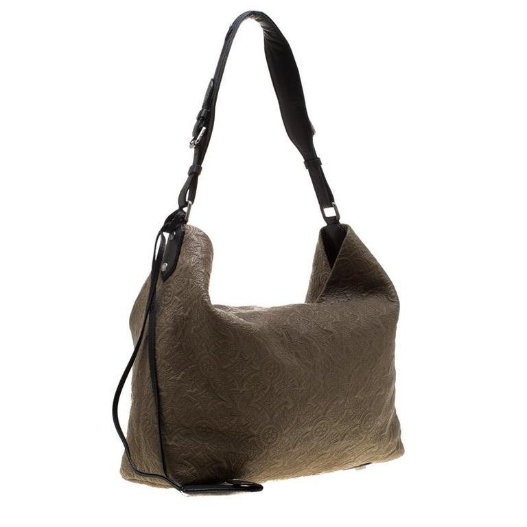 Louis Vuitton Khaki Monogram Antheia Leather Hobo PM Bag In Good Condition For Sale In Dubai, Al Qouz 2