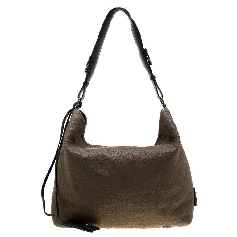 Louis Vuitton Khaki Monogram Antheia Leather Hobo PM Bag For Sale