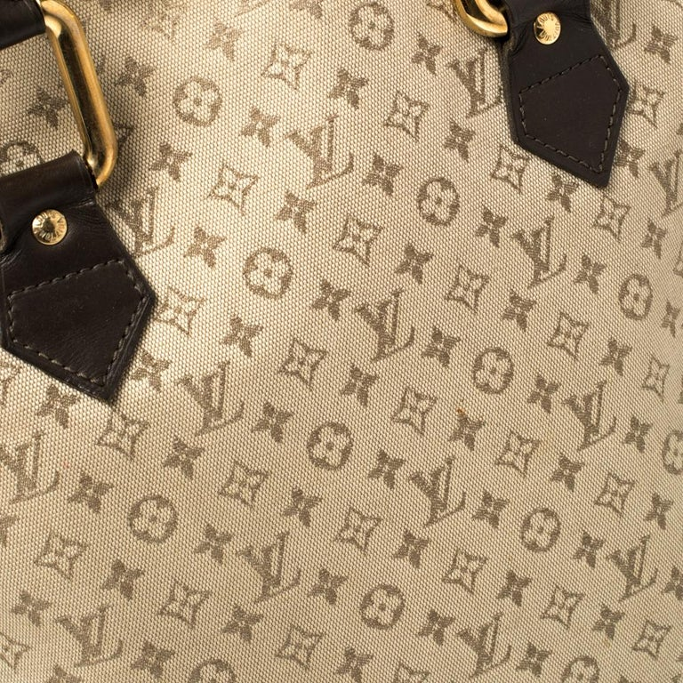 Louis Vuitton Khaki Monogram Mini Lin Canvas Alma Haut Bag For Sale 7