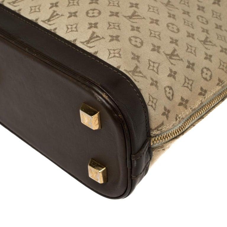 Louis Vuitton Khaki Monogram Mini Lin Canvas Alma Haut Bag For Sale 8