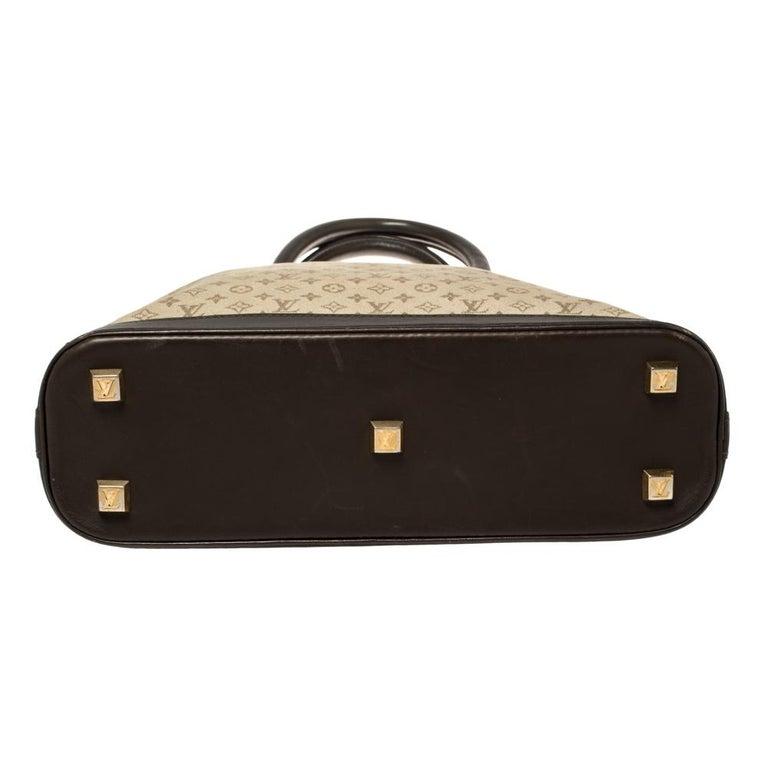 Louis Vuitton Khaki Monogram Mini Lin Canvas Alma Haut Bag For Sale 5