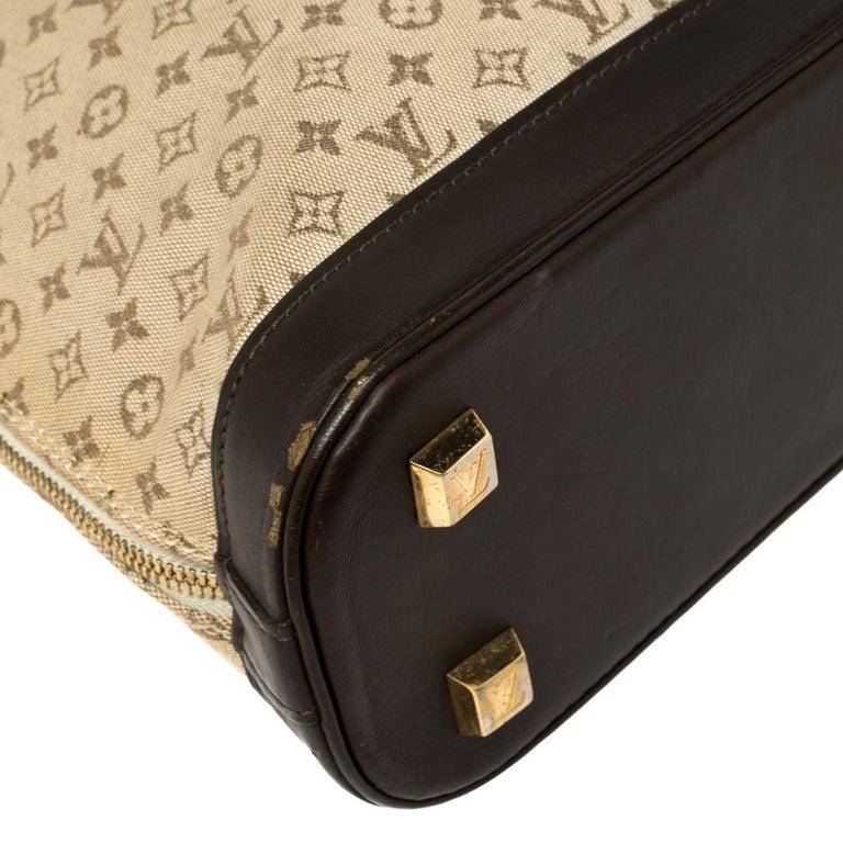 Louis Vuitton Khaki Monogram Mini Lin Canvas Alma Haut Bag For Sale 9