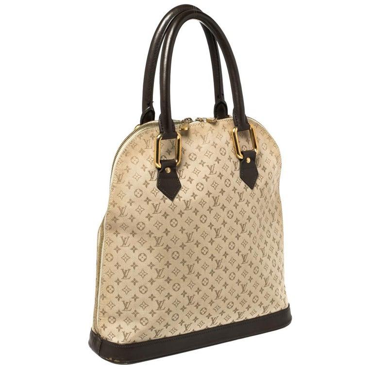 Beige Louis Vuitton Khaki Monogram Mini Lin Canvas Alma Haut Bag For Sale