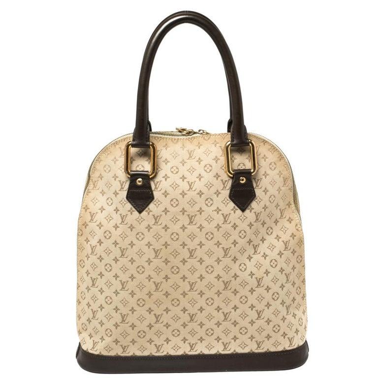 Louis Vuitton Khaki Monogram Mini Lin Canvas Alma Haut Bag In Good Condition For Sale In Dubai, Al Qouz 2