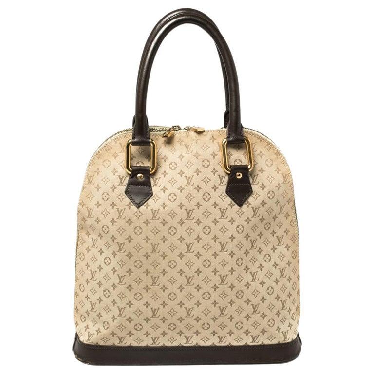 Louis Vuitton Khaki Monogram Mini Lin Canvas Alma Haut Bag For Sale