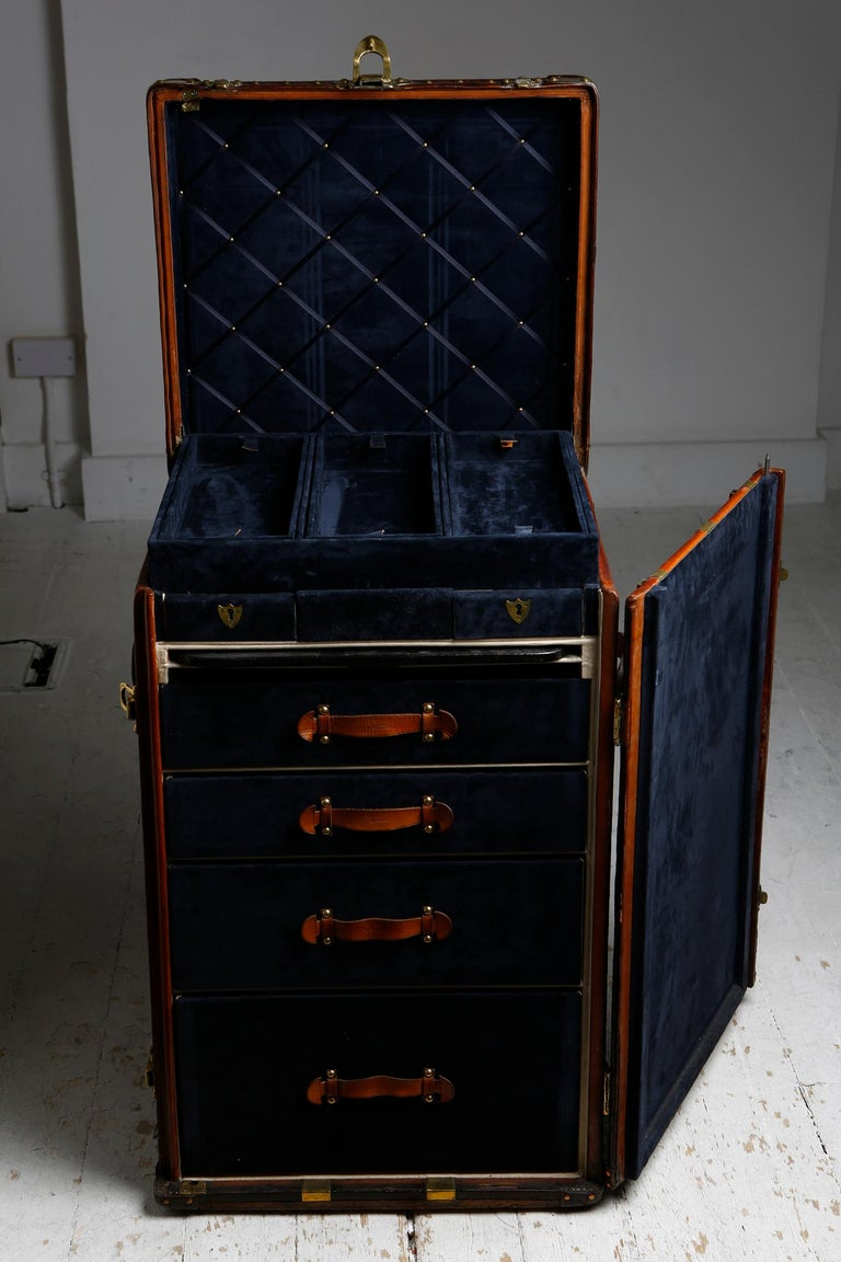 Louis Vuitton Ladies Lingerie Desk Trunk in Orange with Mahogany Finish, 1914 For Sale 5