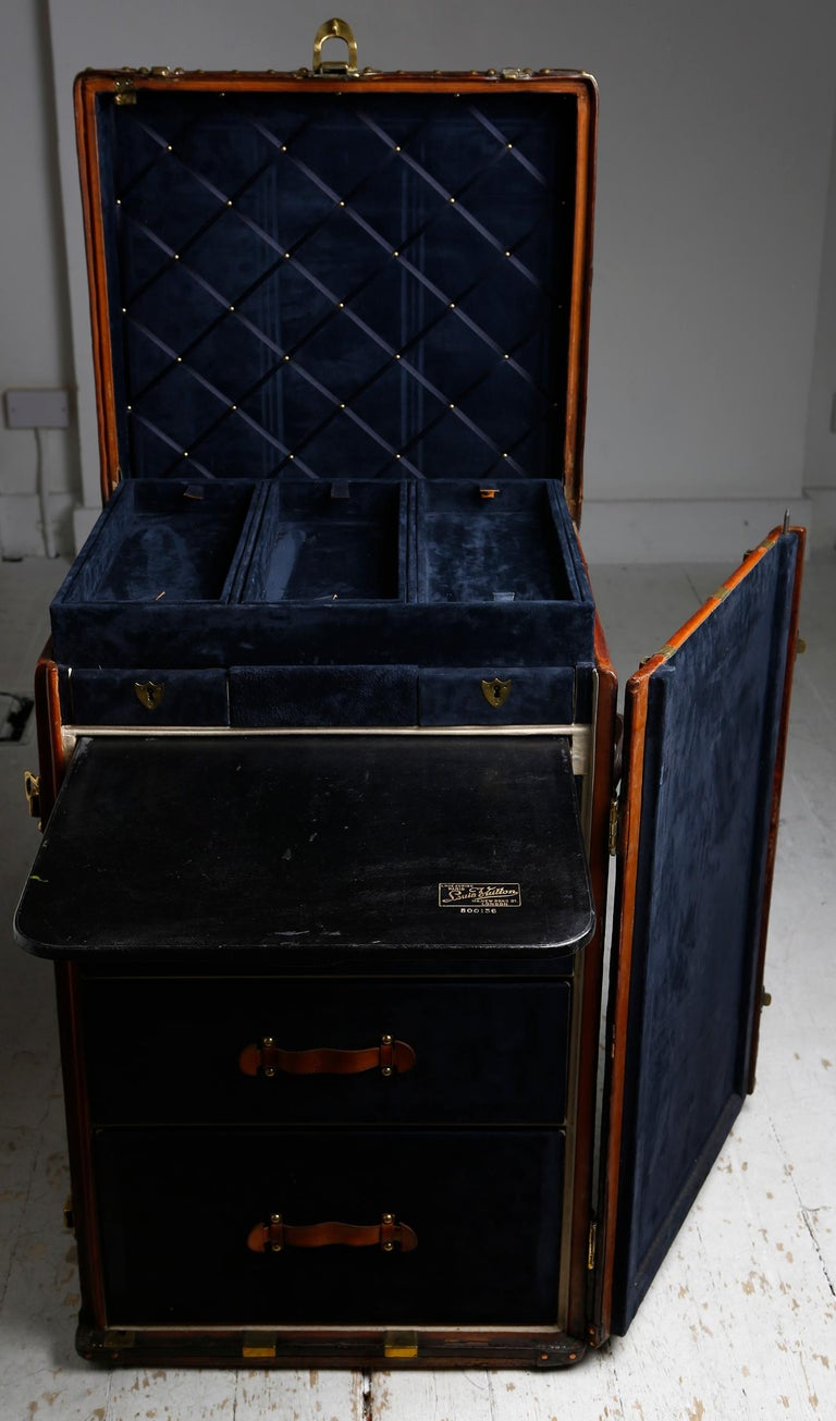 Louis Vuitton Ladies Lingerie Desk Trunk in Orange with Mahogany Finish, 1914 For Sale 7