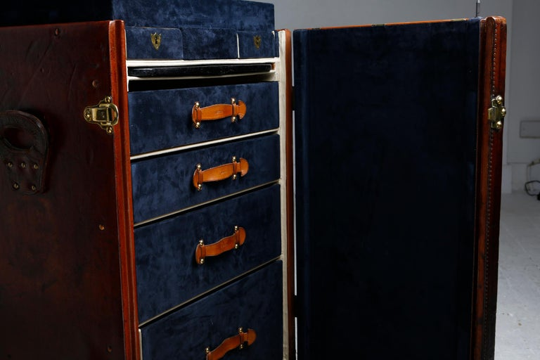 Louis Vuitton Ladies Lingerie Desk Trunk in Orange with Mahogany Finish, 1914 For Sale 13