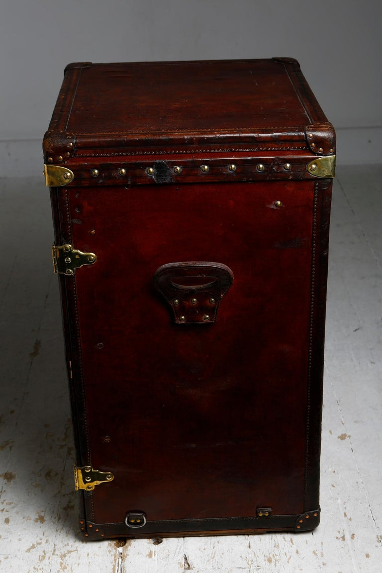 French Louis Vuitton Ladies Lingerie Desk Trunk in Orange with Mahogany Finish, 1914 For Sale