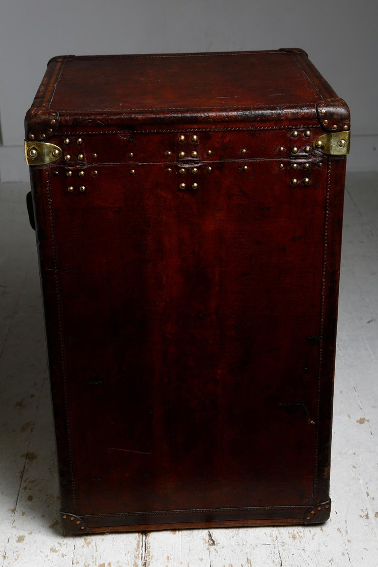 Early 20th Century Louis Vuitton Ladies Lingerie Desk Trunk in Orange with Mahogany Finish, 1914 For Sale