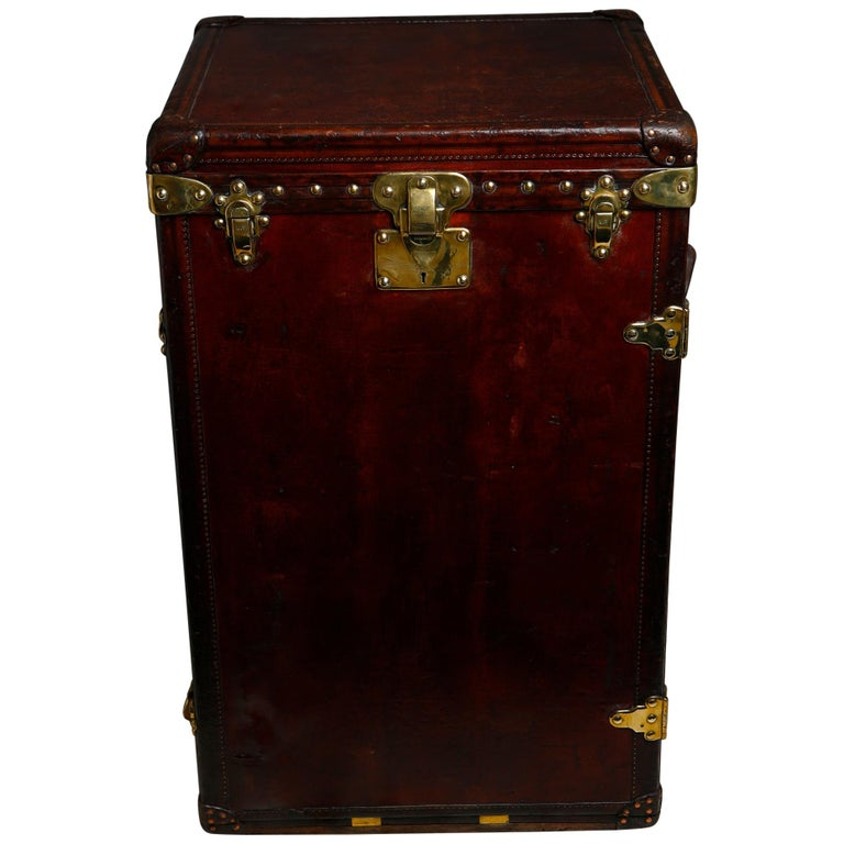 Louis Vuitton Ladies Lingerie Desk Trunk in Orange with Mahogany Finish, 1914 For Sale