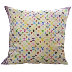 Louis Vuitton Large LV multicolored Blanc Silk And Linen Pillow
