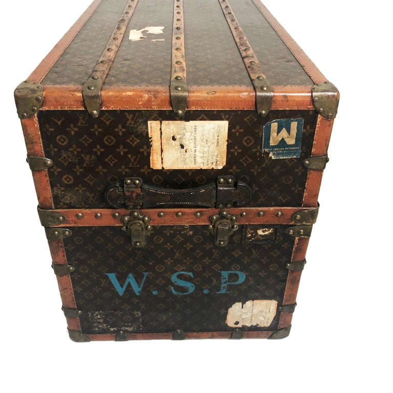 Louis Vuitton Large Wardrobe Steamer Trunk Monogram Travel Case Early 20th C  For Sale 6