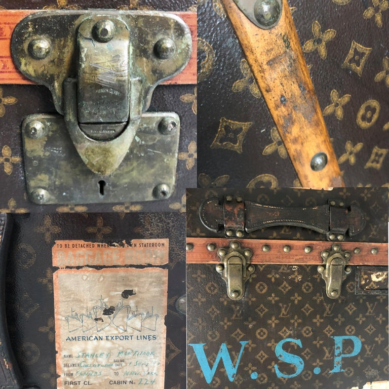 Louis Vuitton Large Wardrobe Steamer Trunk Monogram Travel Case Early 20th C  For Sale 11