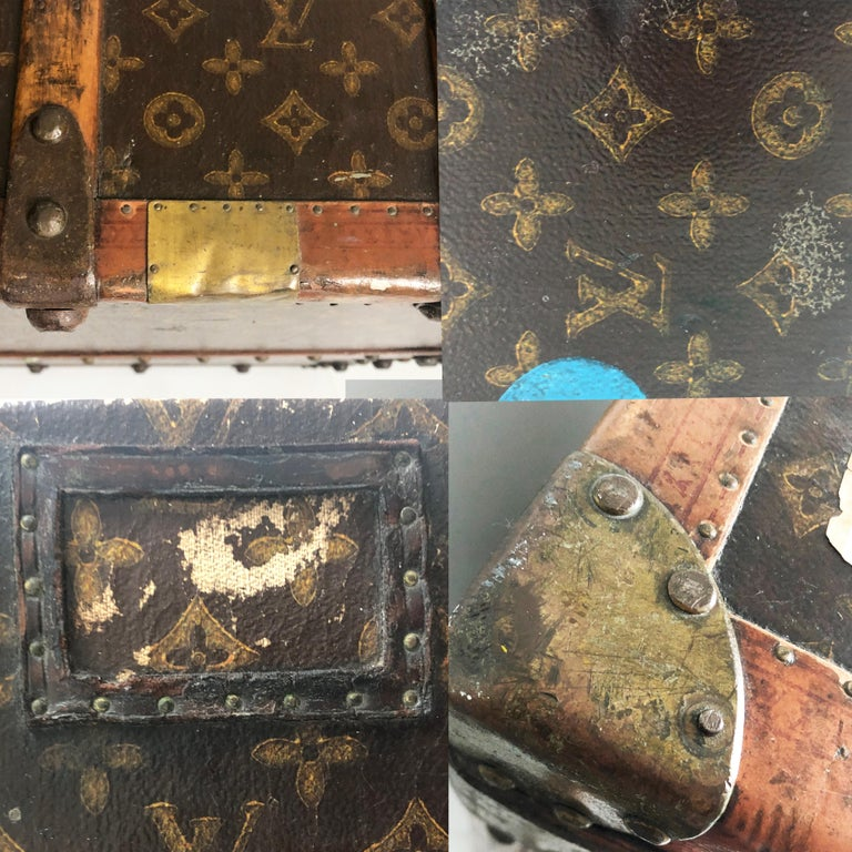 Louis Vuitton Large Wardrobe Steamer Trunk Monogram Travel Case Early 20th C  For Sale 12