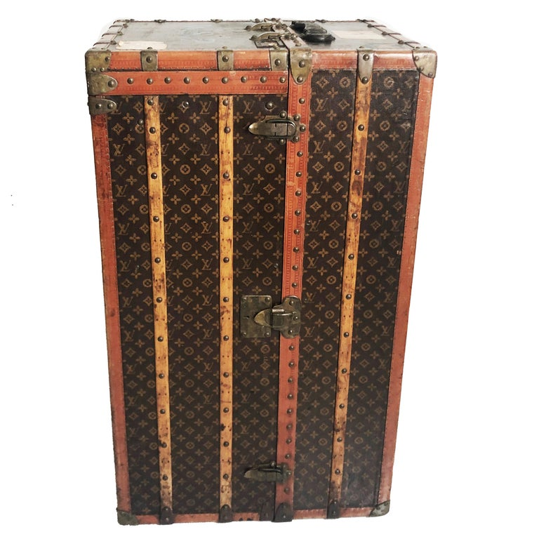 Brown Louis Vuitton Large Wardrobe Steamer Trunk Monogram Travel Case Early 20th C  For Sale