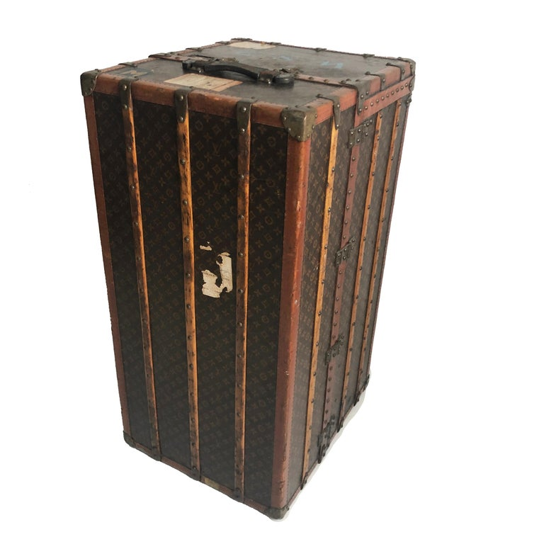 Women's or Men's Louis Vuitton Large Wardrobe Steamer Trunk Monogram Travel Case Early 20th C  For Sale