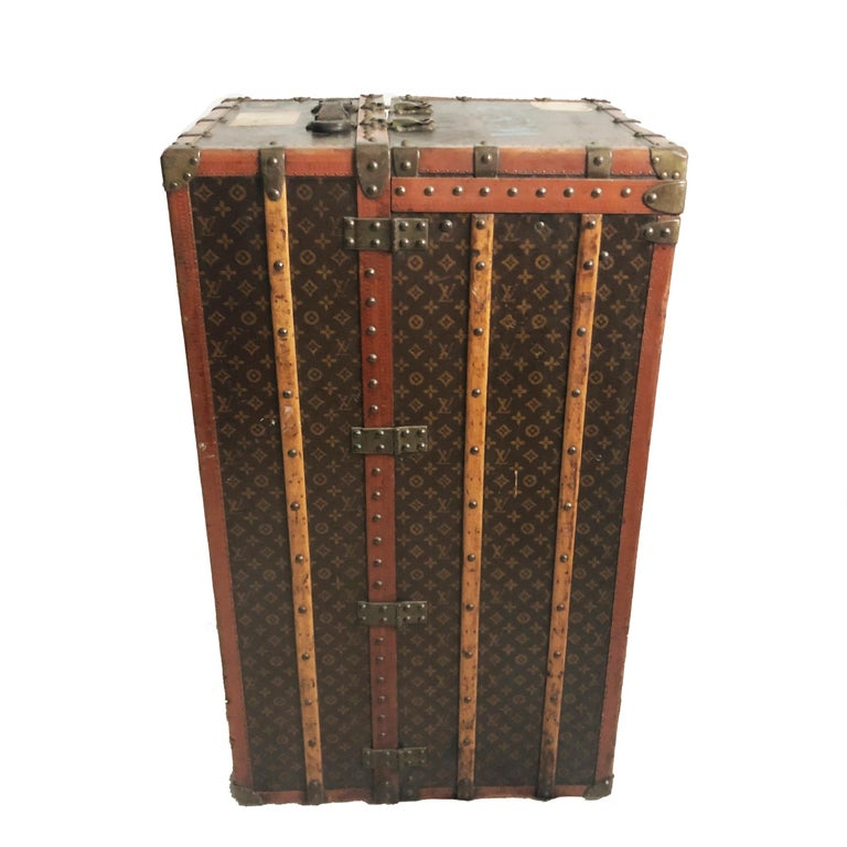 Louis Vuitton Large Wardrobe Steamer Trunk Monogram Travel Case Early 20th C  For Sale 3