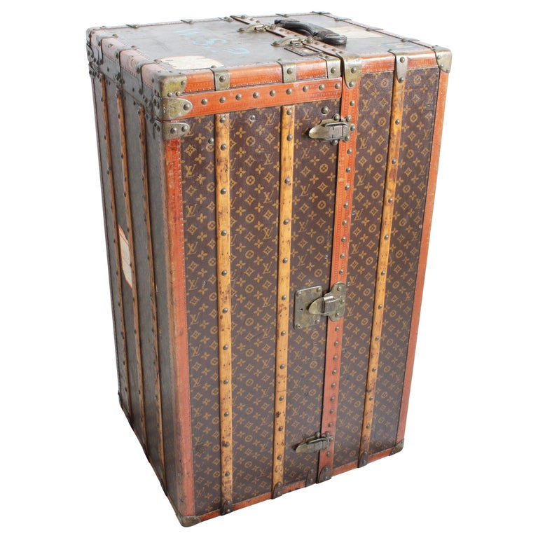 Louis Vuitton Large Wardrobe Steamer Trunk Monogram Travel Case Early 20th C  For Sale