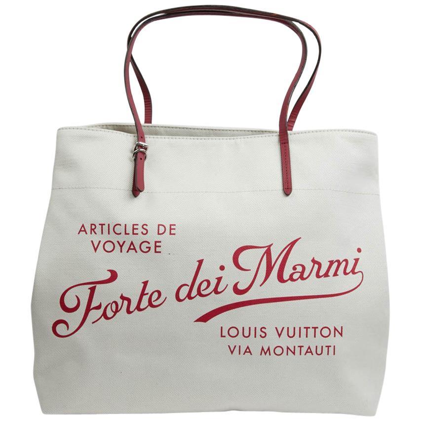 """LOUIS VUITTON Large White """"Forte Dei Miami"""" Tote Bag"""