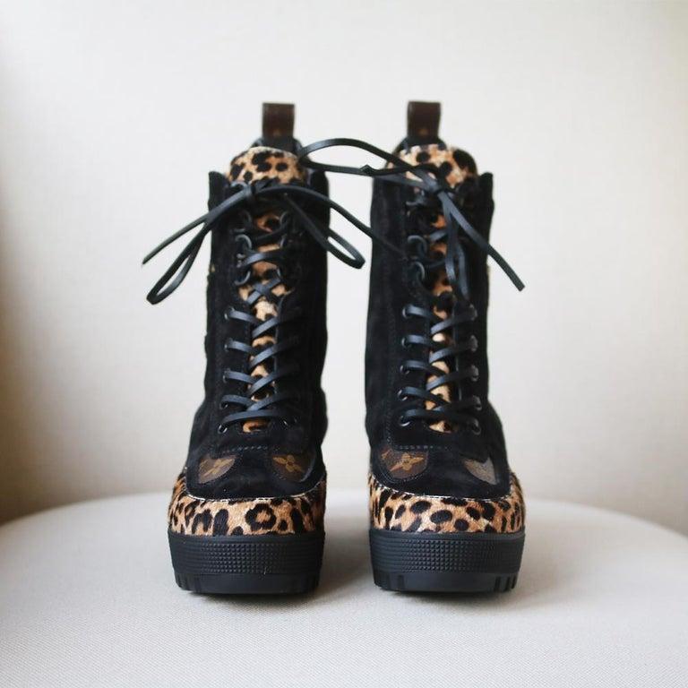 Black Louis Vuitton Laureate Leopard-Print Pony-Hair Platform Desert Boots