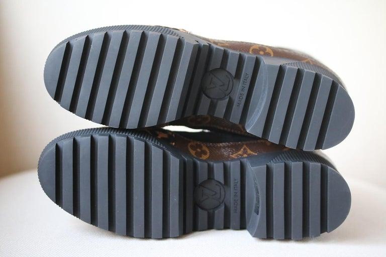 Women's Louis Vuitton Laureate Leopard-Print Pony-Hair Platform Desert Boots