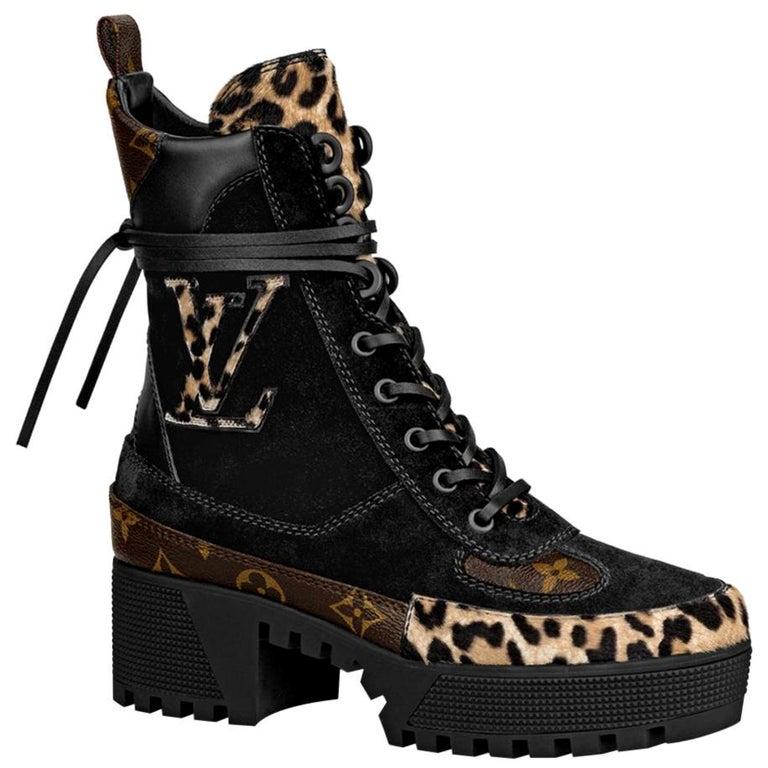 Louis Vuitton Laureate Leopard-Print Pony-Hair Platform Desert Boots