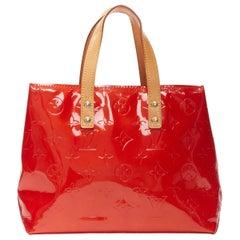 LOUIS VUITTON Lead PM Vernis red monogram embossed small satchel tote bag