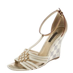 bd34f9bf4649 Louis Vuitton Leather and Damier Azur Square Toe Ankle Strap Sandals 36
