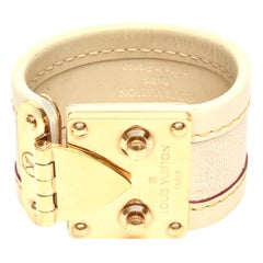 Louis Vuitton Leather and Gold Plated Brass Hardware Cuff Bracelet