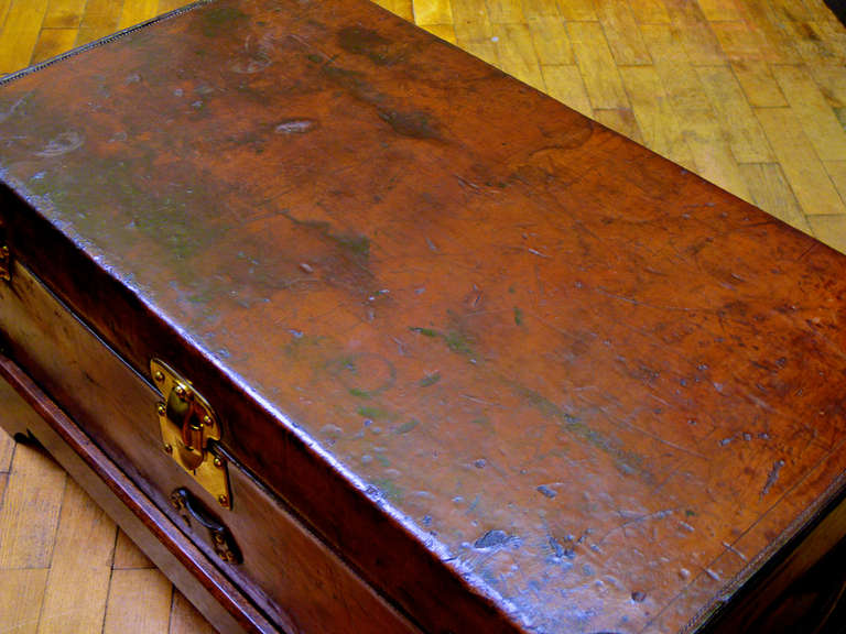 French Louis Vuitton Leather Cabin Trunk, circa 1895 For Sale