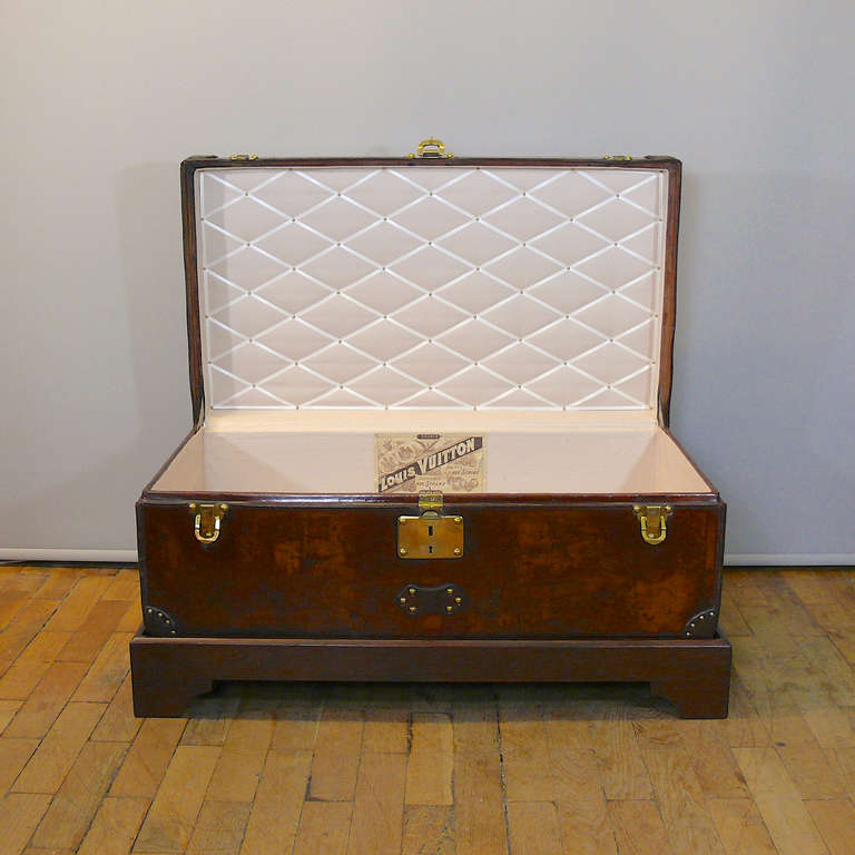 Brass Louis Vuitton Leather Cabin Trunk, circa 1895 For Sale