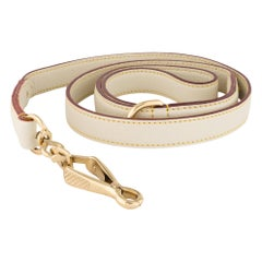 Louis Vuitton Leather Cream Ivory Leather Gold Buckle Animal Pet Dog Leash