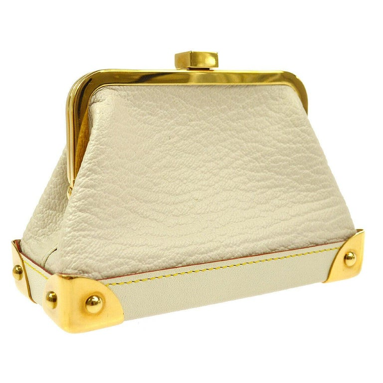 Louis Vuitton Leather Gold Small Mini Top Handle Kisslock Cosmetic Bag in Box   Leather Gold tone hardware Leather lining Kisslock closure Date code present Made in France Measures 4.75