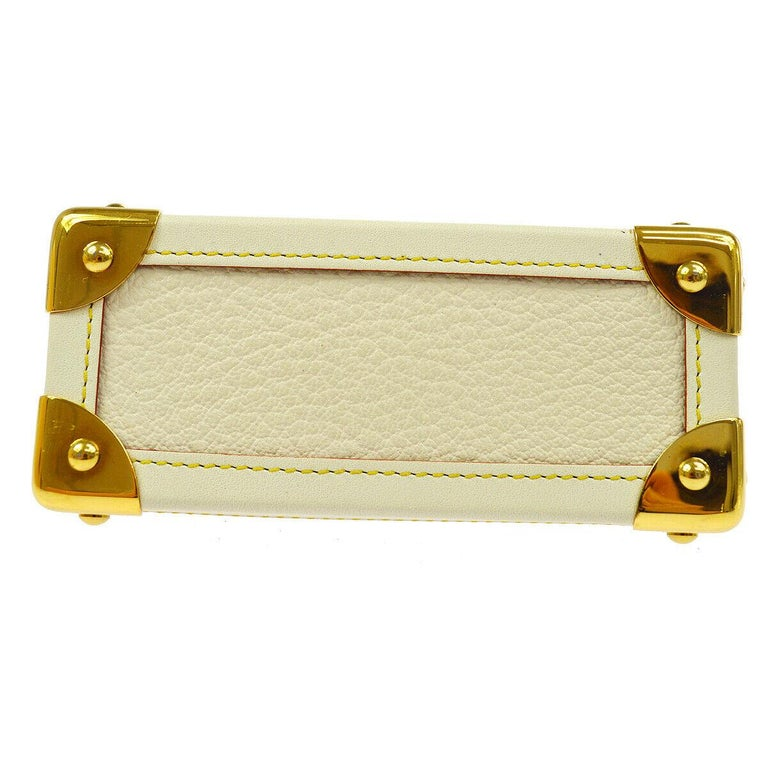Louis Vuitton Leather Gold Small Mini Top Handle Kisslock Cosmetic Bag in Box  In Good Condition For Sale In Chicago, IL