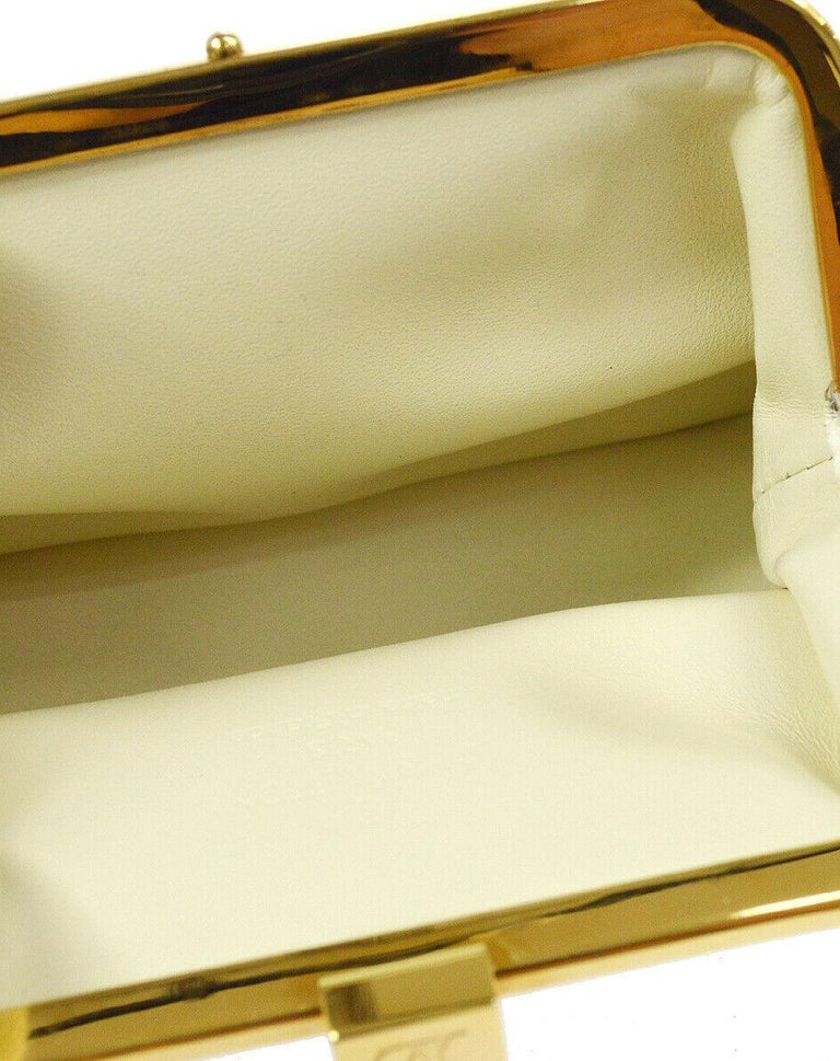 Louis Vuitton Leather Gold Small Mini Top Handle Kisslock Cosmetic Bag in Box  For Sale 1