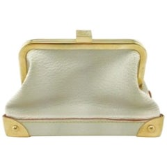 Louis Vuitton Leather Gold Small Mini Top Handle Kisslock Cosmetic Bag in Box