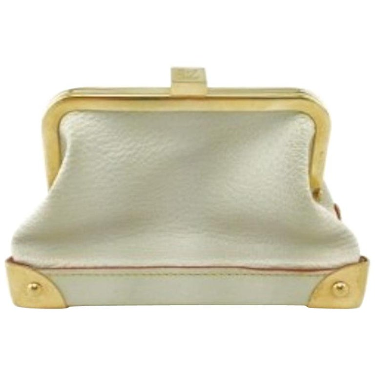 Louis Vuitton Leather Gold Small Mini Top Handle Kisslock Cosmetic Bag in Box  For Sale