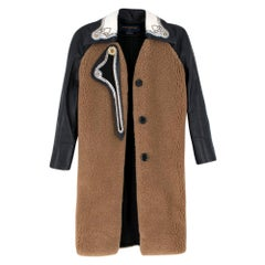 Louis Vuitton Leather Paneled Teddy Bear Coat with Leather Sleeves SIZE XXS