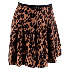 Louis Vuitton Leopard Print Silk Pleated Mini Skirt - Size US2