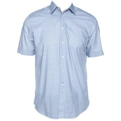 Louis Vuitton Light Blue Monogram Print Cotton Short Sleeve Shirt M