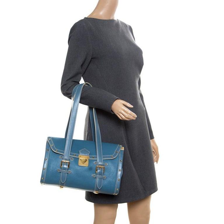 Louis Vuitton Light Blue Suhali Leather L'Epanoui GM bag In Good Condition For Sale In Dubai, Al Qouz 2