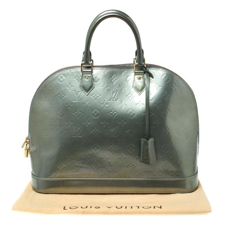 Louis Vuitton Light Green Monogram Vernis Alma GM Bag 6
